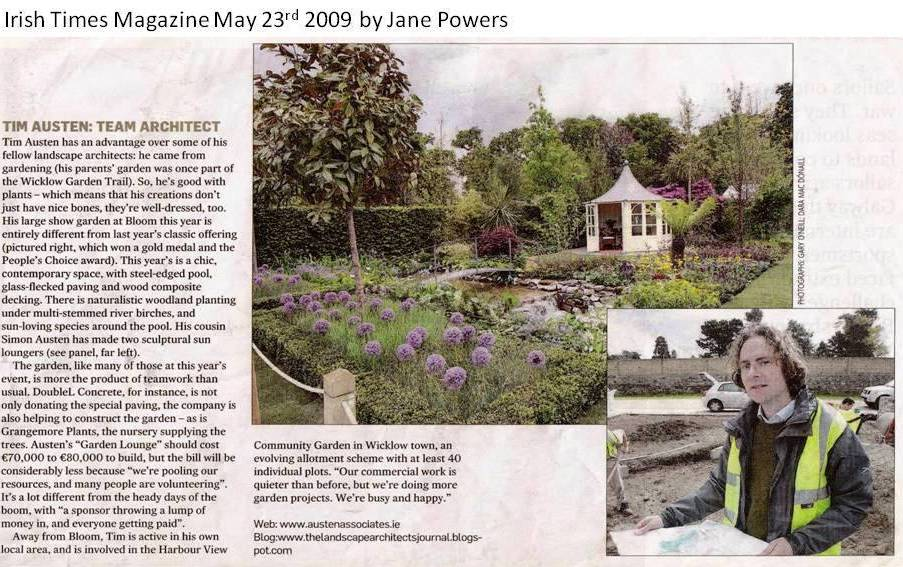 Tim Austen, landscape architect, landscape architecture, Bloom 2009, Irish Times, Jane Powers, winning show garden